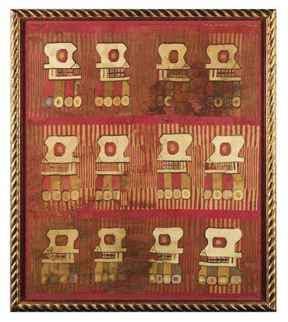 PANNEAU en tissu de laine de couleur rouge,...