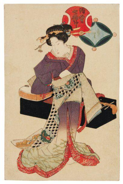 Lot de : a - Gakutei yashima (1786?-1868)...