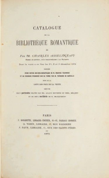 [BAUDELAIRE.] Charles ASSELINEAU