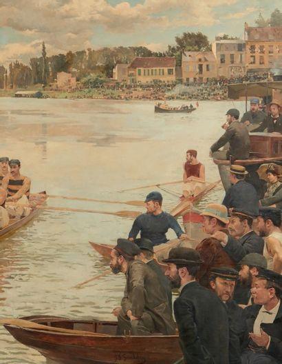 Ferdinand Joseph GUELDRY (1858-1945) Une régate à Joinville, le départ Signé et daté...