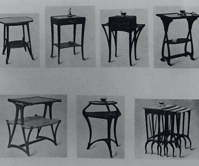 LOUIS MAJORELLE (1859-1926) France Suite de quatre tables gigognes à décor floral...