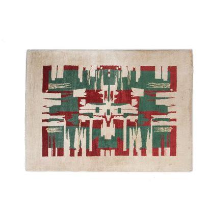 PAULE LELEU (1906-1987) France Tapis Laine tissée à la main Vers 1930 H_193 cm L_140...