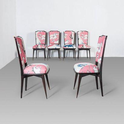 TRAVAIL FRANÇAIS Ensemble de salle à manger comprenant une table et six chaises Ébène...