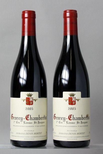 2 Bouteilles GEVREY CHAMBERTIN 1er cru «Lavaux...