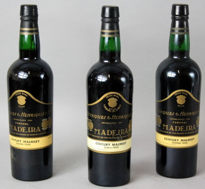 3 Bouteilles MADERE SOLERA 1900 CENTURY MALMSEY...