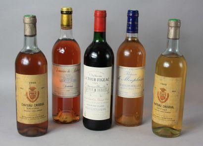 5 Bouteilles VINS DIVERS BORDEAUX ET AUTRES...