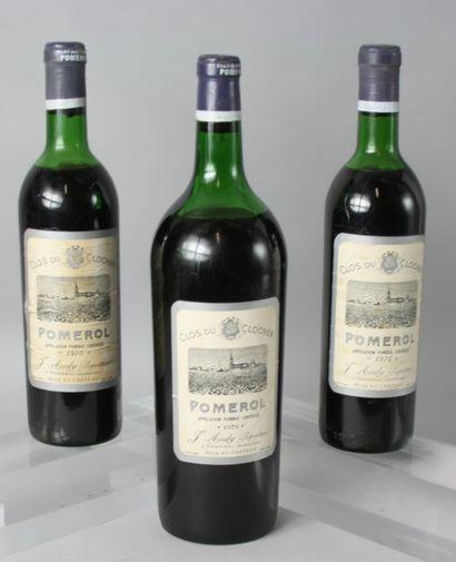 3 Flacons CLOS du CLOCHER - Pomerol : 2 BOUTEILLES....