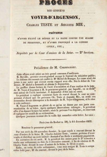 [D'ARGENSON (Marc René de Voyer)]