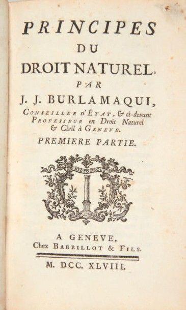 BURLAMAQUI (Jean-Jacques) Ensemble de 3 ouvrages. 1748-1821. 5 volumes. Le juriste...