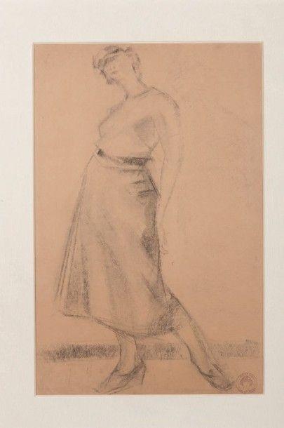 Anne-Pierre De Kat (1881-1968) Femme debout, 1937 Fusain sur papier Porte le cachet...