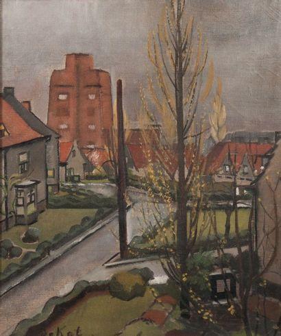 Anne-Pierre De Kat (1881-1968) Boitsfort, Le Floréal Huile sur toile Signée en bas...