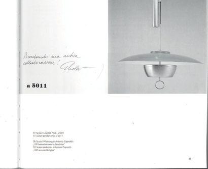 GAETANO SCOLARI Italie Suspension à contrepoids modèle «A5011» Métal laqué vert et...