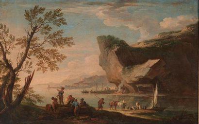 Jacob de HEUSCH (Utrecht 1656 - Amsterdam 1701) Soldats conversant près d'un rocher...