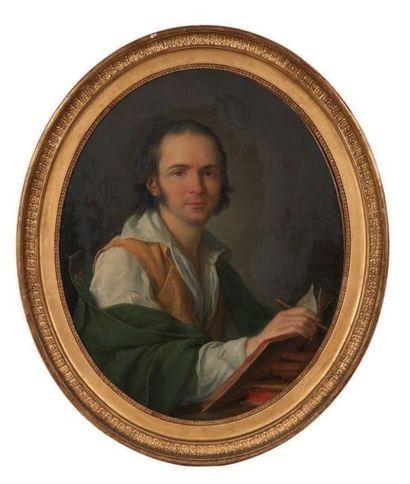 JEAN SIMON BERTHELEMY (Laon 1743 - Paris 1811) Portrait d'homme Toile ovale. Signée...