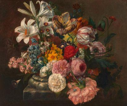 École FRANÇAISE du XVIIIe siècle Bouquet de fleurs Toile marouflée sur panneau. H_35...