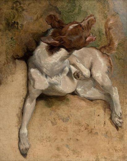 SIR EDWIN HENRY LANDSEER (LONDRES 1802 - 1873) Etude de chien Toile. H_91,5 cm L_71...