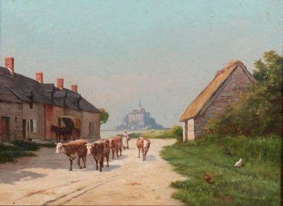 EDOUARD CARIAT (1874 - 1962) Vue du Mont Saint Michel Toile. Signée et titrée en...