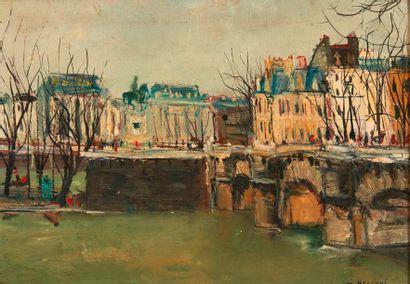 SERGE BELLONI (1925 – 2005) Vue de Paris Panneau. Signé en bas à droite. H_24 cm...