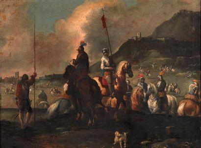 ATTRIBUÉ À JACQUES COURTOIS, DIT LE BOURGUIGNON (1621 - 1676) L'aide de camp Toile....
