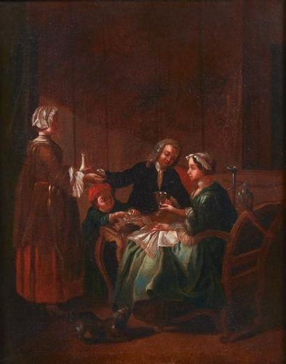 Ecole Flamande de la fin du XVIIIe siècle La collation Toile. H_44,5 cm L_35 cm