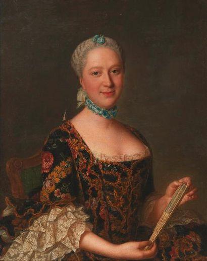 École Allemande du XVIIIe siècle Portrait de femme à l'éventail Toile. H_81,5 cm...