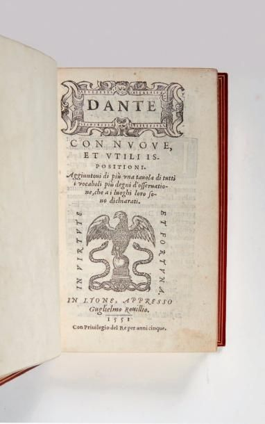 DANTE Dante con nuove, et utili ispositioni. Aggiuntovi di più una tavola di tutti...
