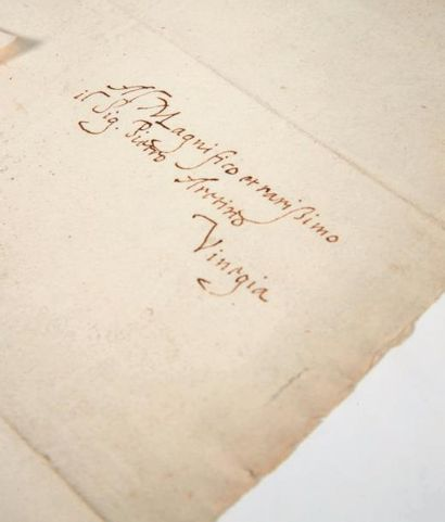 GAMBARA (Veronica) Lettre adressée à l'Arétin. Correggio, 24 août 1533. Lettre autographe...