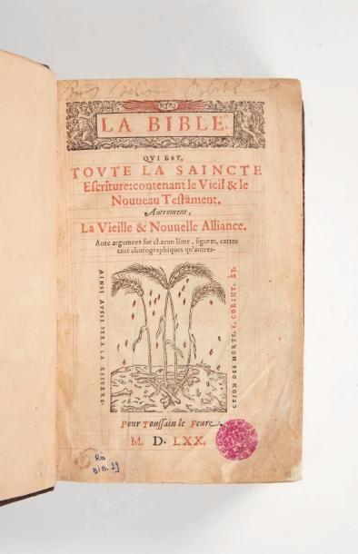BIBLE (La), qui est, toute la Saincte Escriture: contenant le Vieil & le Nouveau...
