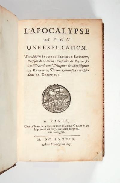 BOSSUET (Jacques-Bénigne) L'Apocalypse avec une explication. Paris, Veuve de Sébastien...