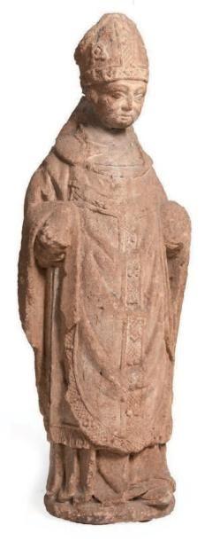 SAINT EVÊQUE en pierre calcaire sculptée...