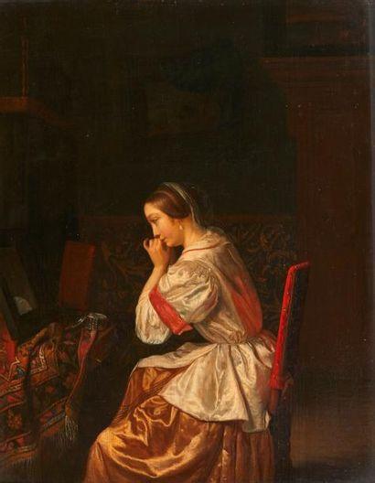 École HOLLANDAISE du XVIIIe siècle La jeune fille à la perle Panneau, une planche,...