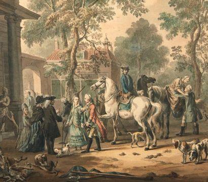 DIRK LANGENDYK(ROTTERDAM 1748-1805) Retour de chasse Aquarelle sur papier. Signée...