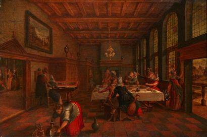 ECOLE FLAMANDE VERS 1700, ENTOURAGE DE CHARLES EMMANUEL BISET Scène de bal Panneau...