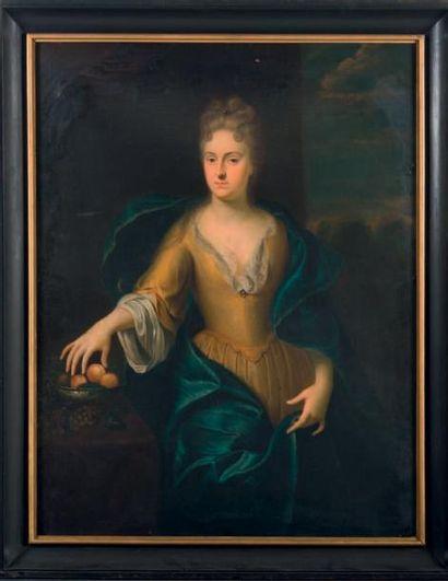 ATTRIBUÉ À JAN DE REYN(1610-1678) Portrait de femme aux fruits Toile rectangulaire,...