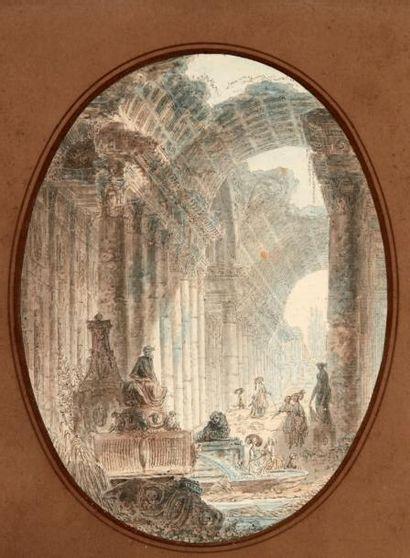 ALEXANDRE PERNET(PARIS VERS 1763 - VERS 1789) Pêcheur au bord d'une rivière et ruines...