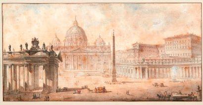 LOUIS JEAN DESPREZ(AUXERRE 1743 - STOCKHOLM 1804) La place Saint Pierre de Rome Plume...