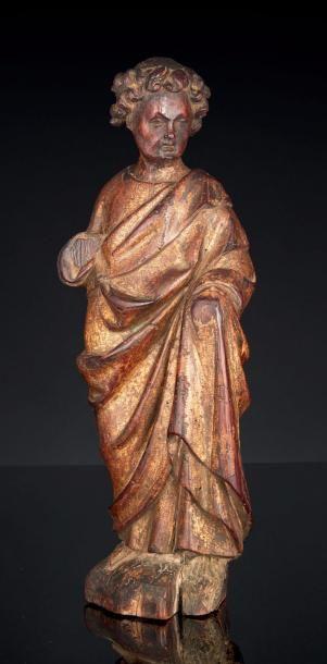 Saint Jean de calvaire (?) en noyer sculpté...