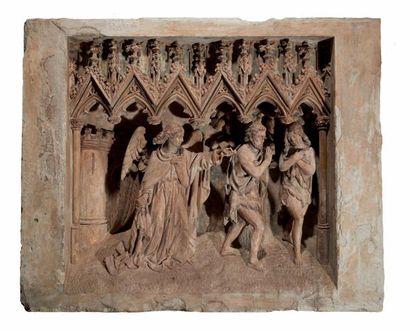 Retable en pierre calcaire sculptée en profondeur...