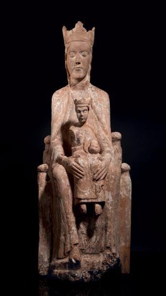 Vierge à l'Enfant en majesté en bois (aulne?)...