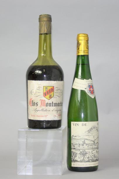 Lot de 2 bouteilles VINS ILE DE France : CLOS MONTMATRE Années 1970 Capsule endomagée,...