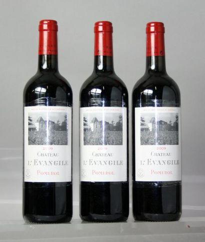 3 bouteilles CHÂTEAU L'EVANGILE- Pomerol 2009