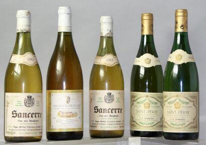 Lot de 5 bouteilles VINS BLANCS DIVERS :...