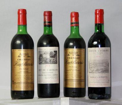 Lot de 4 bouteilles VINS ROUGES DE BORDEAUX...