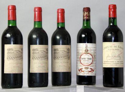 Lot de 5 bouteilles VINS ROUGES DE BORDEAUX...
