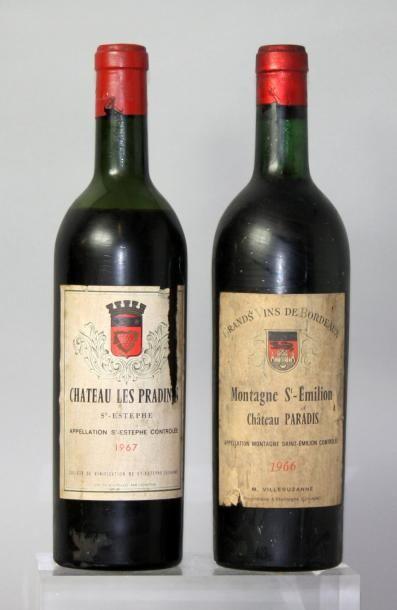 Lot de 2 bouteilles VINS ROUGES DE BORDEAUX...