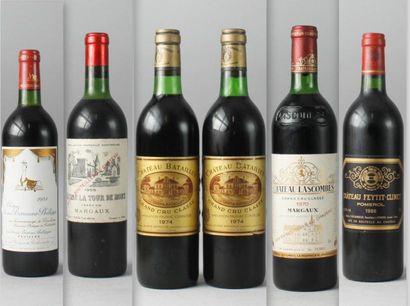Lot de 6 bouteilles VINS ROUGES DE BORDEAUX...
