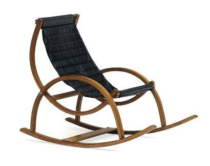 Rocking chair en vinyle noir et structure...
