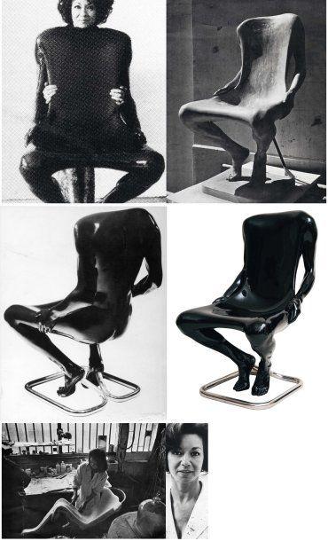 """Ruth Francken (1924-2006) Siège / Sculpture modèle """"Homme"""" en polyester laqué noir,..."""