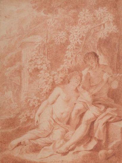 ADRIAEN VAN DER WERFF (1659-1722) Le berger amoureux Sanguine sur papier. Signé....