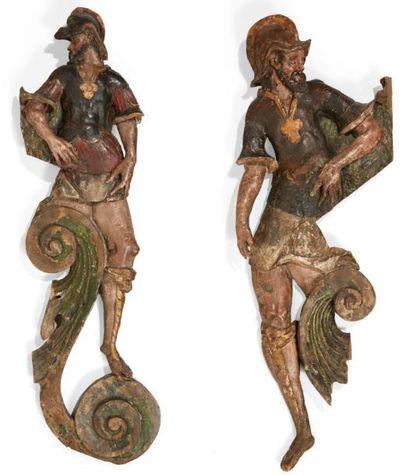 PAIRE D'HOMMES EN ARME en bois sculpté en...